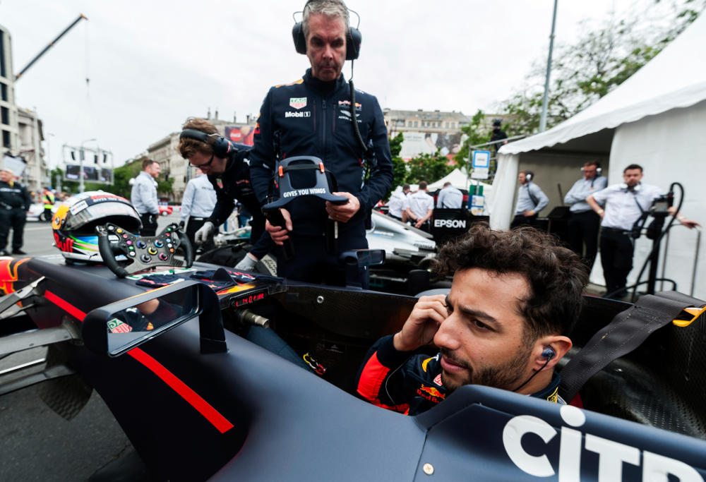 Red Bull's Daniel Ricciardo gets ready for a Formula One show run.