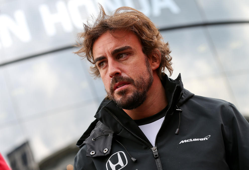 Fernando Alonso of McLaren-Honda at a Formula One press conference.