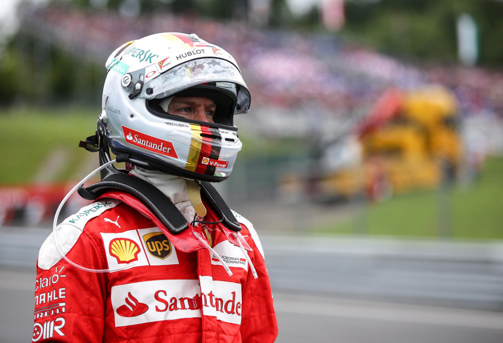 Ferrari's Sebastian Vettel looks on during the Formula One Austrian Grand Prix.