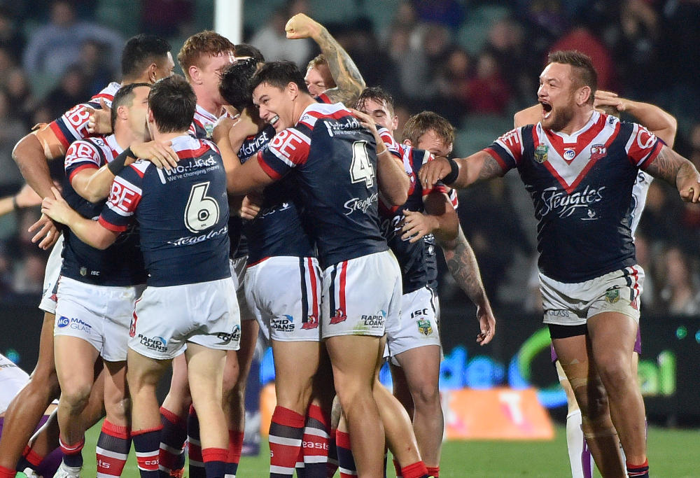 Sydney Roosters celebrate.