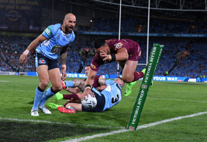 WATCH: Cameron Munster sets up third try for Valentine Holmes in Origin game 3