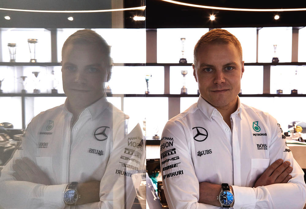Formula One driver Valtteri Bottas poses in a Mercedes photoshoot.