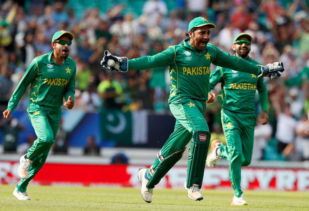 Sarfraz Ahmed celebrates Pakistan's Champions Trophy win