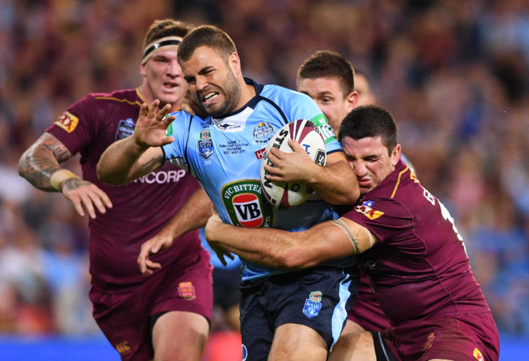 Wade Graham of the NSW Blues takes the ball up during Origin 1