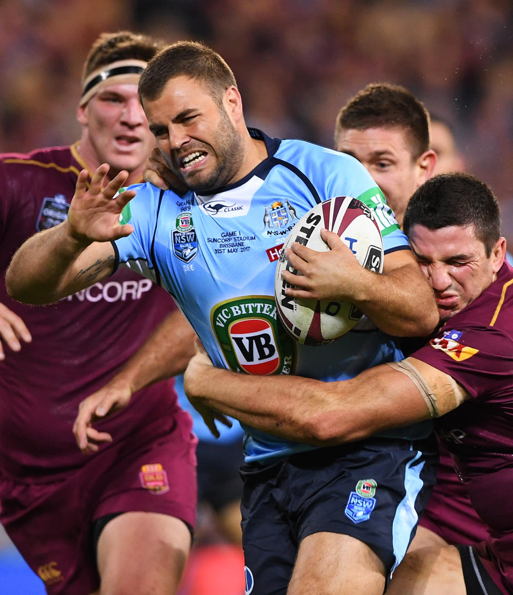 Wade Graham of the NSW Blues takes the ball up during Game 1