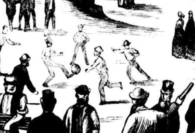 Close up of an illustration of a festival day at Balmoral, Sydney, 1870, showing people playing football