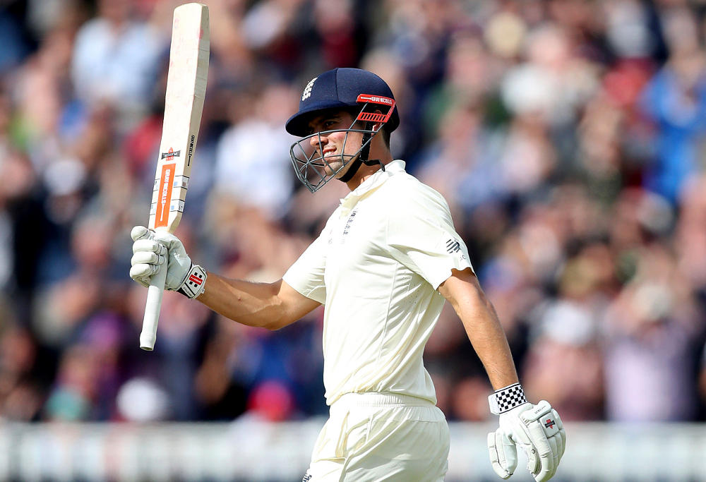 England's Alastair Cook celebrates his double century during day two of the First Investec Test match at Edgbaston, Birmingham. PRESS ASSOCIATION Photo. Picture date: Friday August 18, 2017.