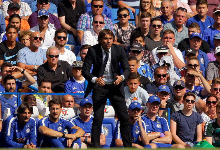 Chelsea's manager Antonio Conte follows the action during the English Premier League soccer match between Chelsea and Everton at Stamford Bridge stadium in London, Sunday, Aug. 27, 2017.