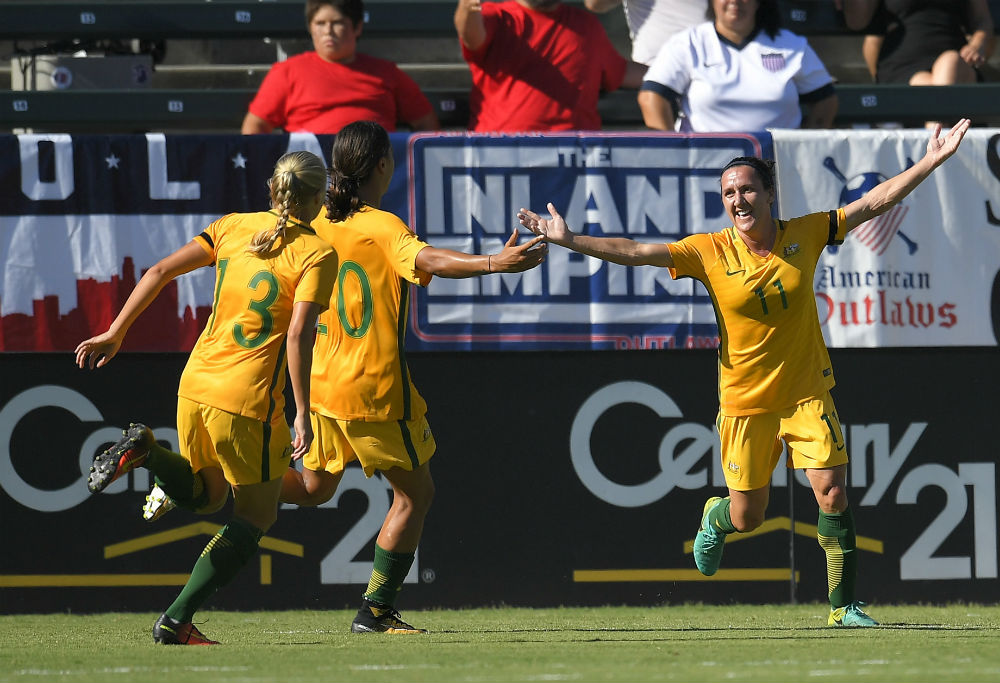 The Matildas score a goal against Brazil at the Tournament of Nations