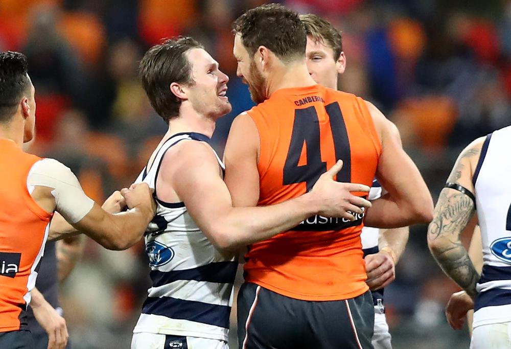 Patrick Dangerfield Shane Mumford Geelong Cats GWS Giants AFL 2017