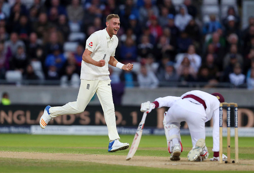 England's Stuart Broad celebrates taking the wicket of West Indies Roston Chase during day three of the First Investec Test match at Edgbaston, Birmingham. PRESS ASSOCIATION Photo. Picture date: Saturday August 19, 2017.