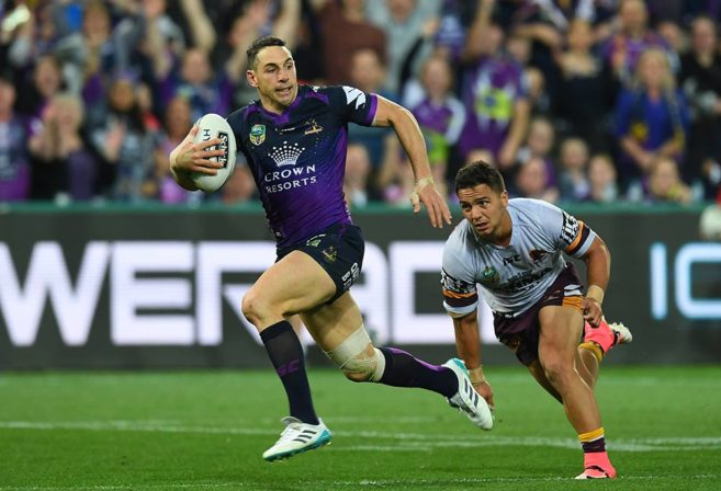 Billy Slater breaks through the Broncos to score a try in the first NRL Preliminary final
