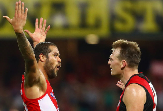 Lance Franklin Brendon Goddard Sydney Swans Essendon Bombers AFL 2017