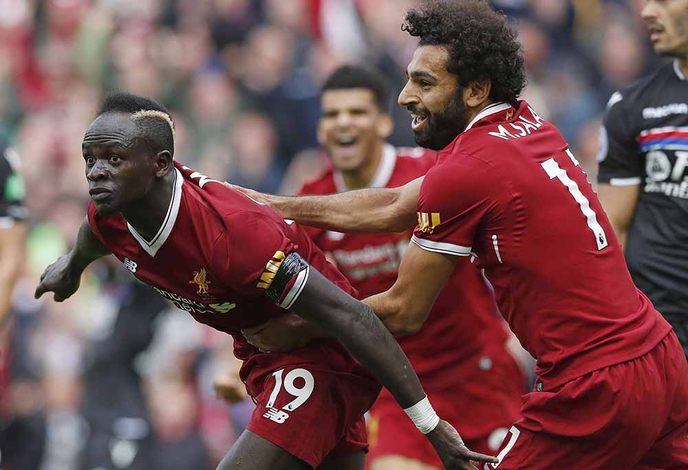 Liverpool FC's Sadio Mane and Mo Salah in the Premier League.
