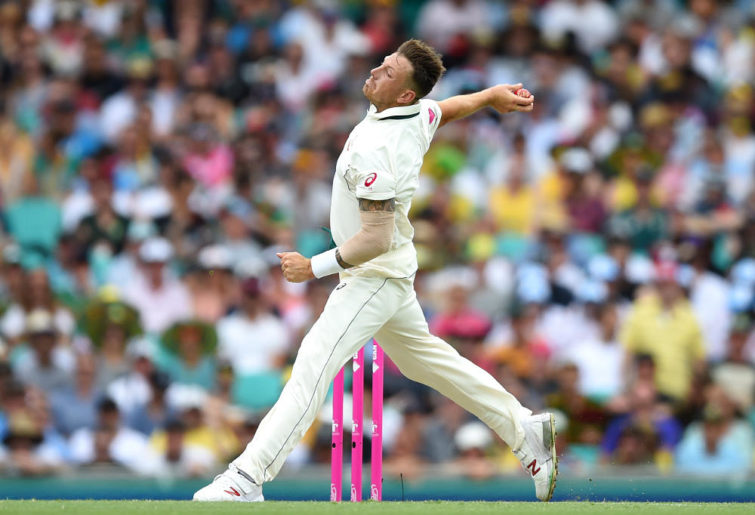 James Pattinson bowls for Australia