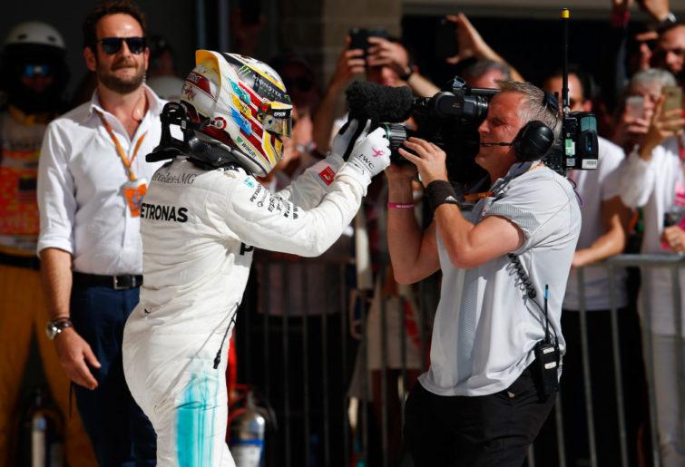 Lewis Hamilton celebrates victory at the 2017 United States Grand Prix