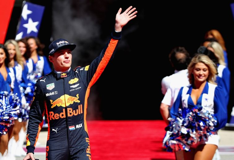 Max Verstappen waves to the crowd before the 2017 United States Grand Prix.