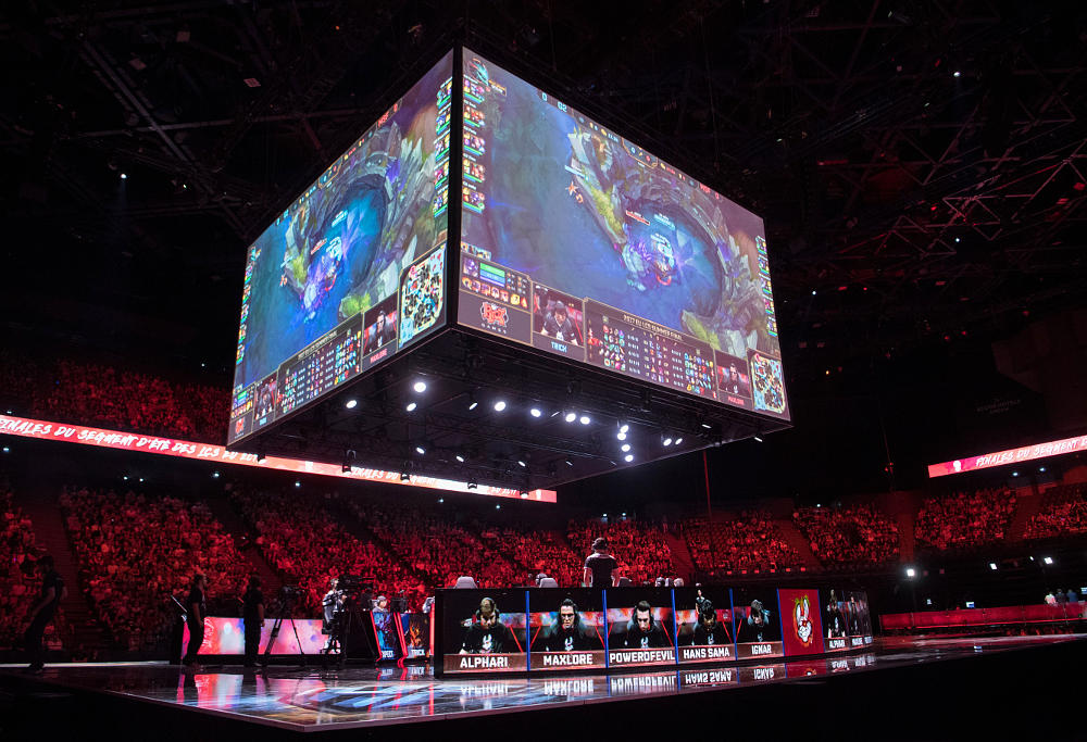 The teams Misfits Gaming and G2 Esports compete in final of the 'LCS', the first European division of the video game 'League of Legends', at the AccorHotels Arena in Paris on September 3, 2017.