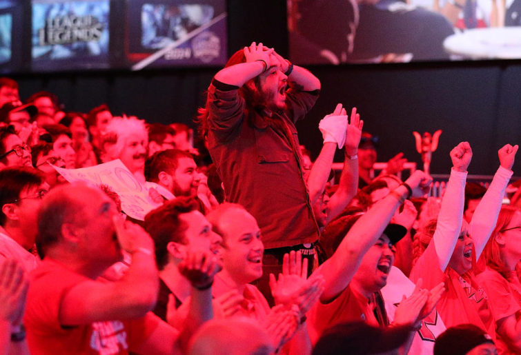The crowd cheers as Maryville University wins the championship in the League of Legends College Championship at the NA LCS Studio at Riot Games Arena on May 28, 2017 in Santa Monica, California.