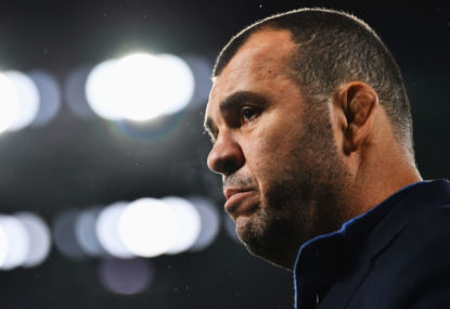 In a RWC year, what are Cheika's future-proofing obligations?