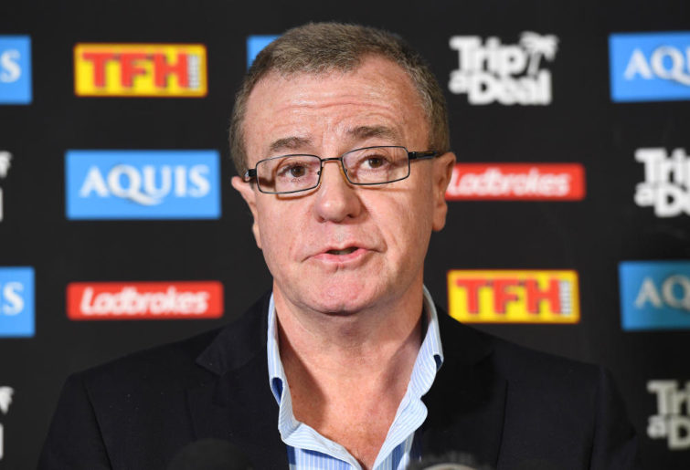 Gold Coast Titans CEO Graham Annesley looks on during a press conference at Titans Headquarters at Parkwood on the Gold Coast, Monday, August 21, 2017. Annesley announced that Neil Henry has been sacked as head coach effective immediately.