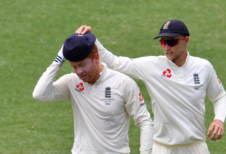 England wicketkeeper Jonny Bairstow (left) is seen with England Captain Joe Root (right) on Day 5 of the First Ashes Test match between Australia and England at the Gabba in Brisbane, Monday, November 27, 2017.