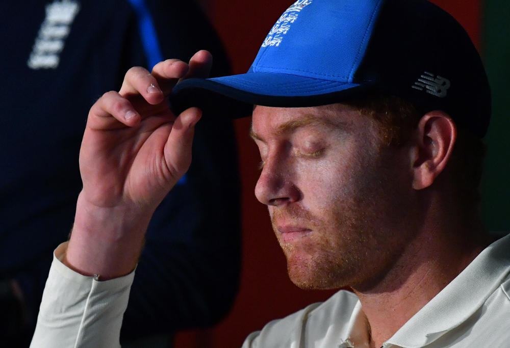 England wicketkeeper Jonny Bairstow is seen talking to the media after play on Day 5 of the First Ashes Test match between Australia and England at the Gabba in Brisbane, Monday, November 27, 2017.