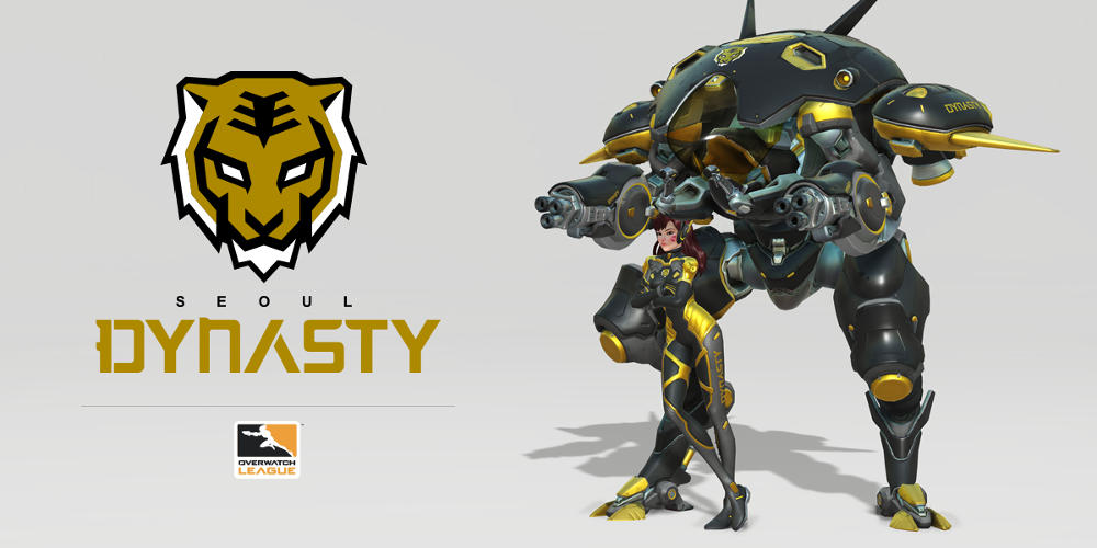 Overwatch character D.Va, wearing the colours of the Seoul Dynasty Overwatch League eSports team.