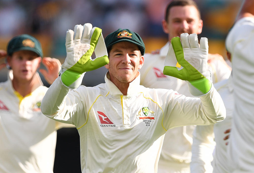 Australian wicket keeper Tim Paine is seen on Day 3 of the First Test match between Australia and England at the Gabba in Brisbane, Saturday, November 25, 2017.