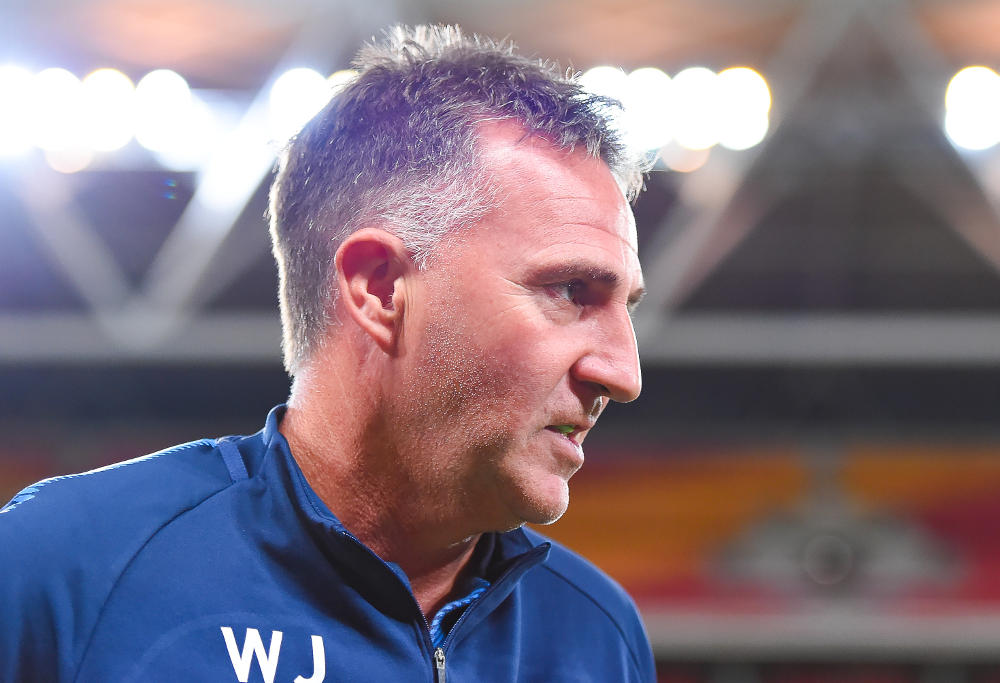 Melbourne City head coach Warren Joyce is seen during the round seven A-League match between the Brisbane Roar and Melbourne City at Suncorp Stadium on Friday, November 17, 2017 in Brisbane, Australia.