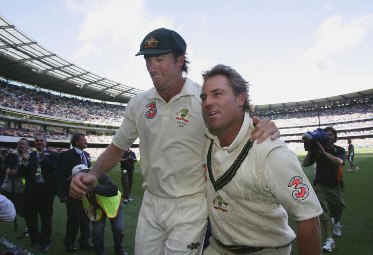 Glenn McGrath and Shane Warne leave the MCG