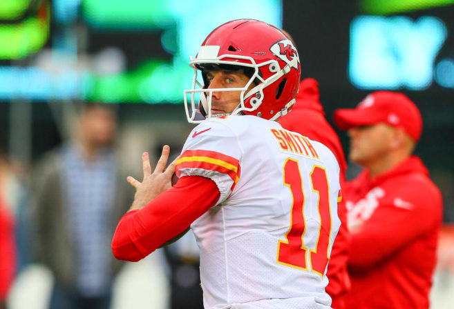 EAST RUTHERFORD, NJ - DECEMBER 03: Kansas City Chiefs quarterback Alex Smith (11) prior to the National Football League game between the New York Jets and the Kansas City Chiefs on December 3, 2017, at Met Life Stadium in East Rutherford, NJ.