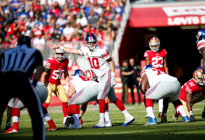SANTA CLARA, CA - NOVEMBER 12: Eli Manning #10 of the New York Giants changes the play at the line during the game against the San Francisco 49ers at Levi's Stadium on November 12, 2017 in Santa Clara, California. The 49ers defeated the Giants 31-21.