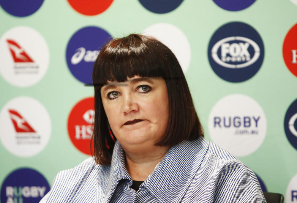 Raelene Castle at a Rugby Australia press conference