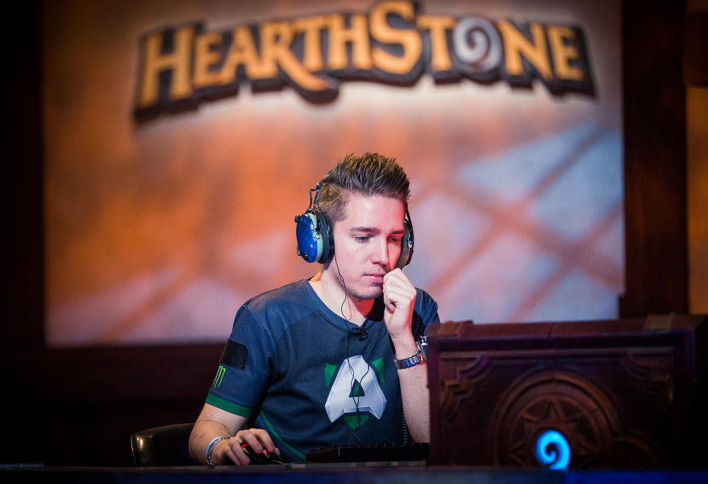 """Hearthstone player Jon """"Orange"""" Westberg ponders his next move at the Championship Tour in Amsterdam."""