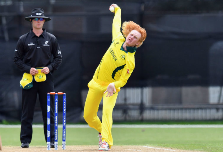 Lloyd Pope bowls at the Under 19s cricket world cup