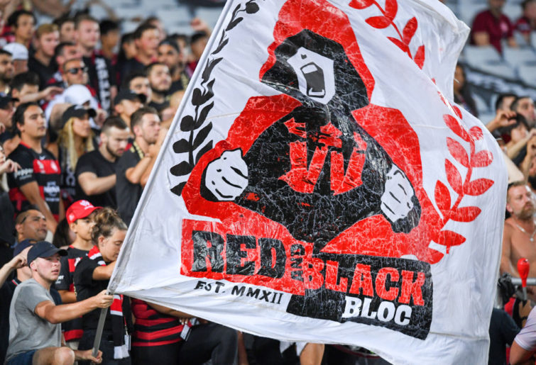 Western Sydney Wanderers active support fans Red and Black Bloc