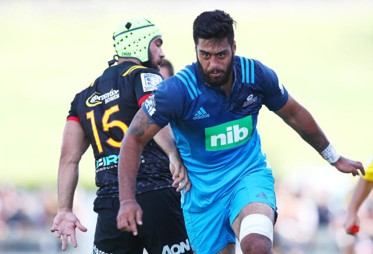 Akira Ioane of the Blues makes a break during the Super Rugby pre-season match between the Chiefs and the Blues on February 2, 2018 in Te Kuiti, New Zealand.