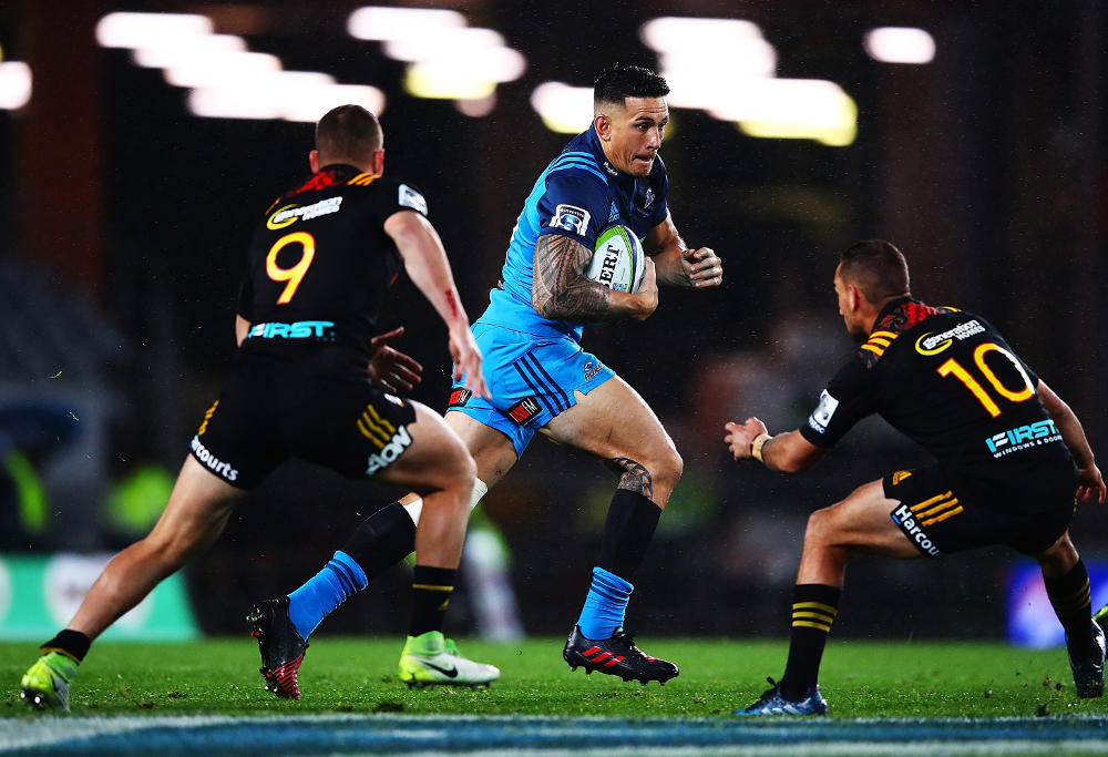 Sonny Bill Williams of the Blues makes a break during the round 14 Super Rugby match between the Blues and the Chiefs and Eden Park on May 26, 2017 in Auckland, New Zealand.