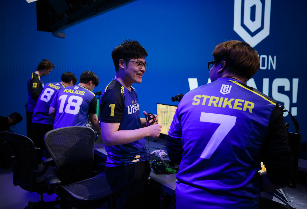 The Boston Uprising of the Overwatch League celebrate a victory at the Blizzard Arena in Los Angeles.