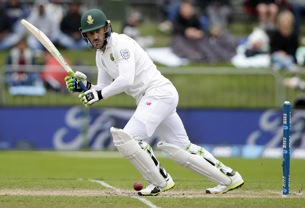 Faf Du Plessis plays a shot against New Zealand