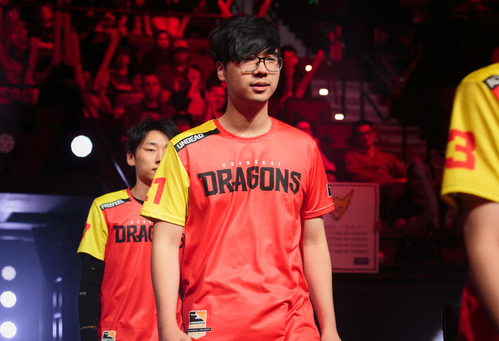 a268aee64 Members of the Shanghai Dragons Overwatch League team take the stage