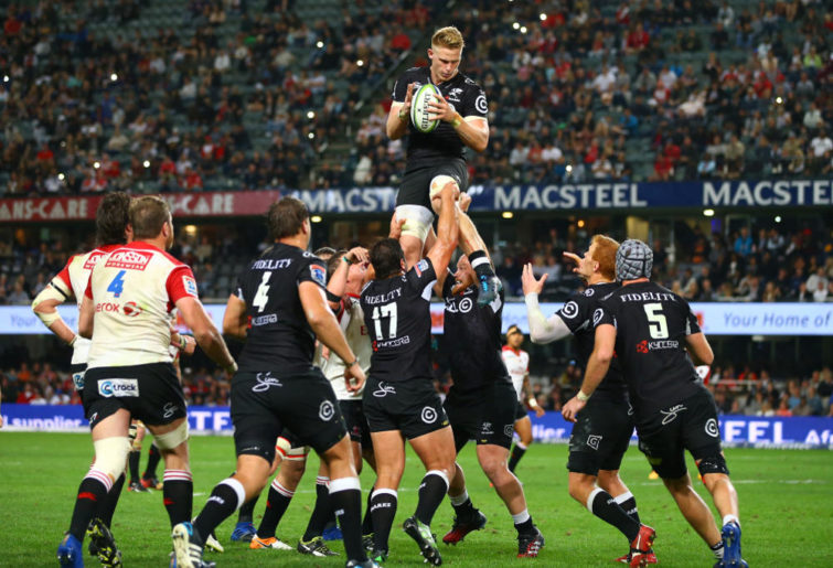 DURBAN, SOUTH AFRICA - JULY 15: Daniel du Preez of the Cell C Sharks during the Super Rugby match between Cell C Sharks and Emirates Lions at Growthpoint Kings Park on July 15, 2017 in Durban, South Africa.