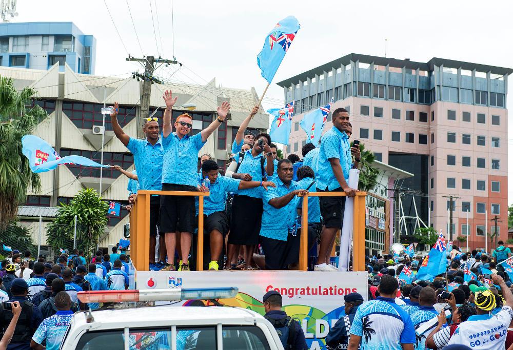 Fijian sevens gold medal parade