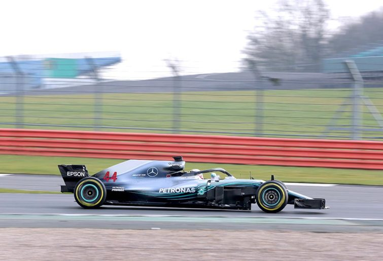 Lewis Hamilton drives the Mercedes W09 at a private filming day.
