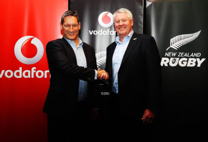 Vodafone Chief Executive Russell Stanners shakes hands with New Zealand Rugby CEO Steve Tew during a New Zealand All Blacks sponsorship Announcement at Eden Park on May 22, 2017 in Auckland, New Zealand. New Zealand Rugby have signed a four-year partnership with Vodafone New Zealand.