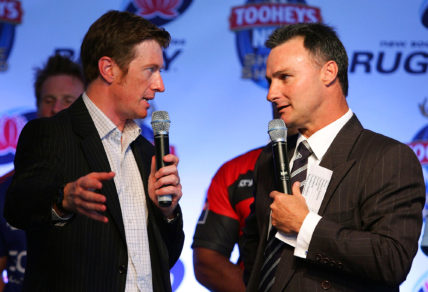 Toby Lawson and Brett Papworth talk about the upcoming season during the 2008 Shute Shield season launch held at the IBM Terrace Sydney Football Stadium March 25, 2008 in Sydney, Australia.