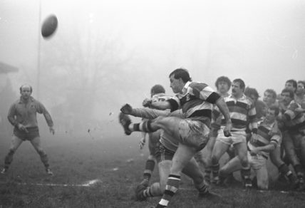 David Bishop of Pontypool kicks the ball for touch during a match against Australia at The Park in Pontypool, Wales.