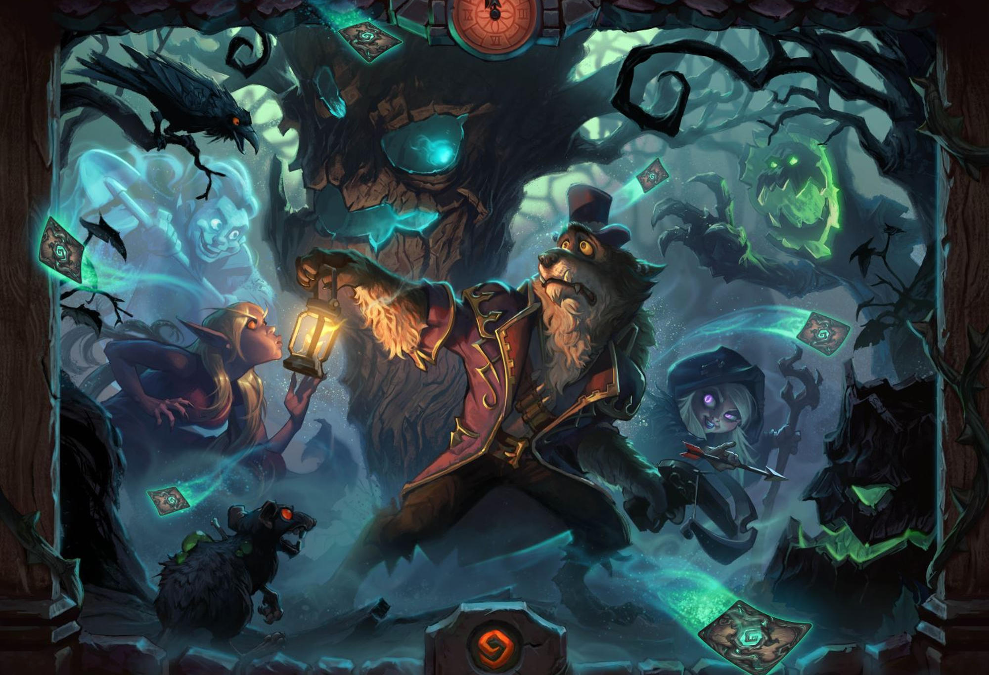 Art depicting the theme of the next Hearthstone expansion, The Witchwood.