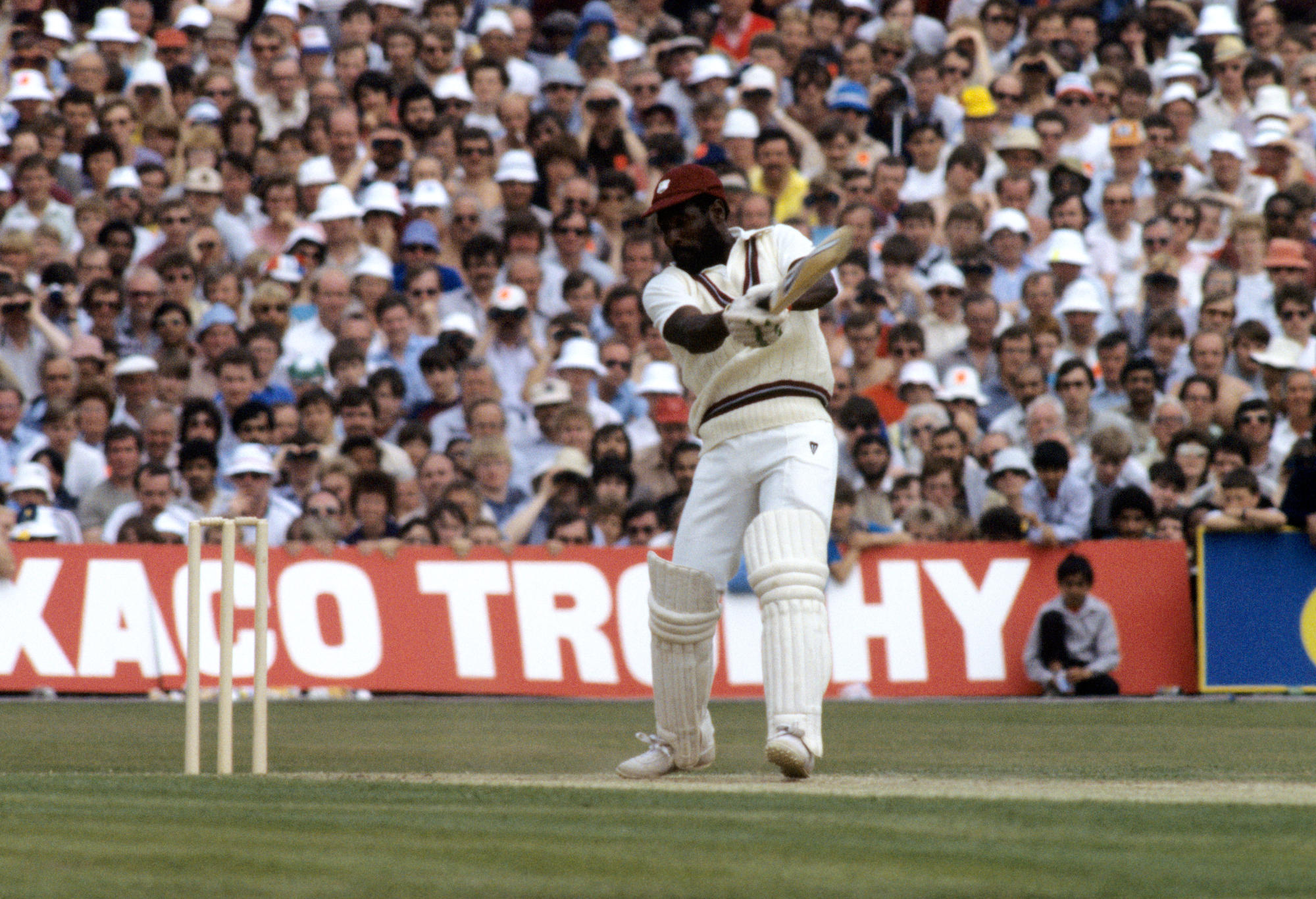 West Indies' Viv Richards cuts the ball away during his record-breaking innings of 189 not out.